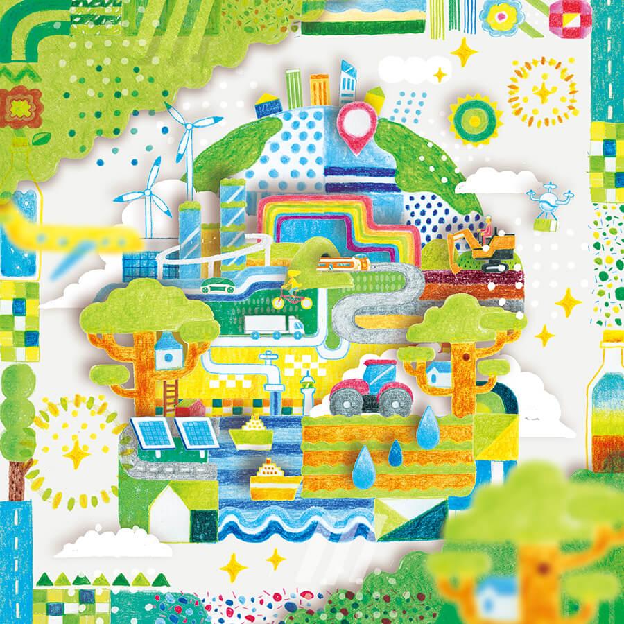 インフォグラフィック SDGs・CSR 未来環境イラスト