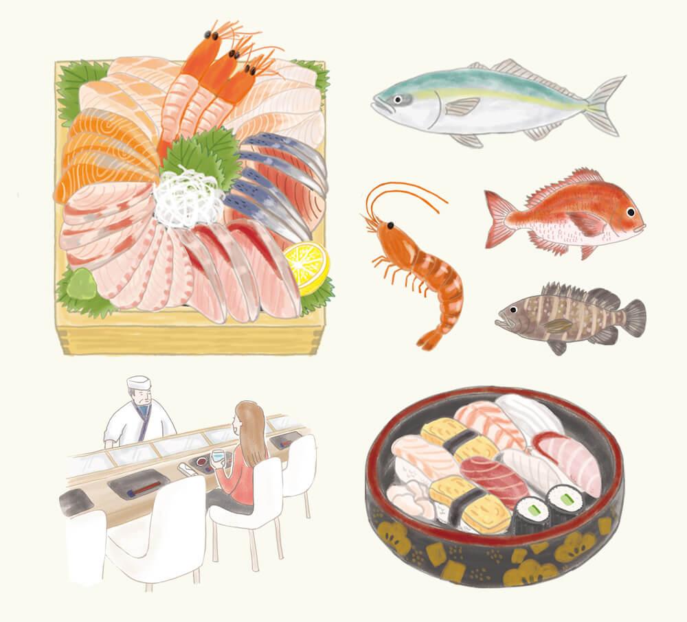 ハレの日のお寿司特集 海鮮丼イラスト