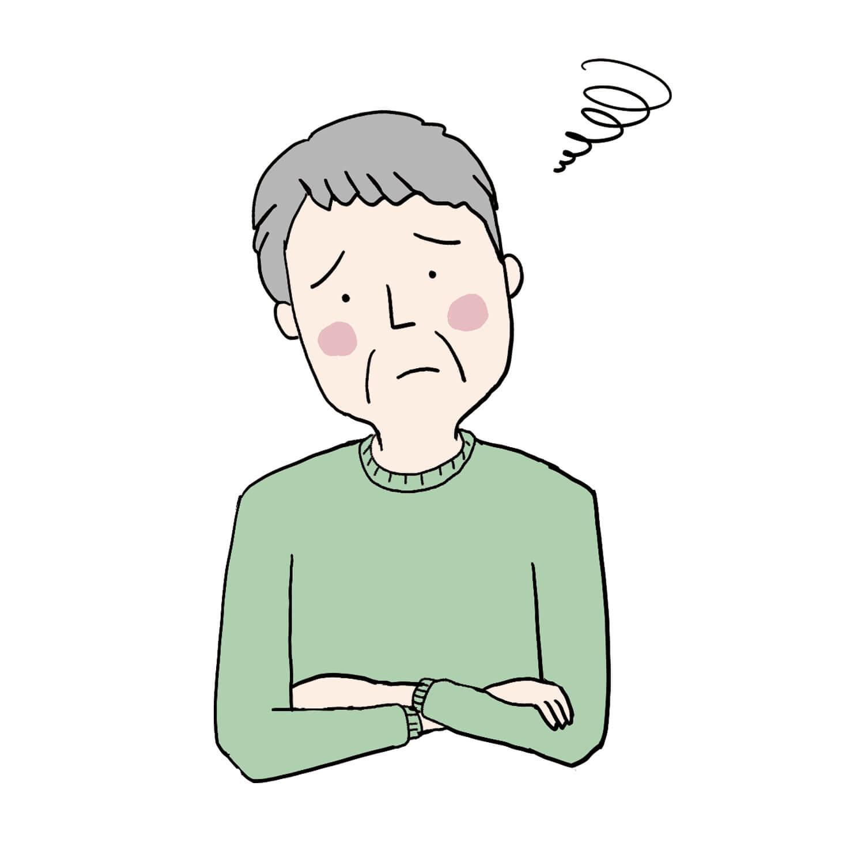 悩む高齢者患者イラスト