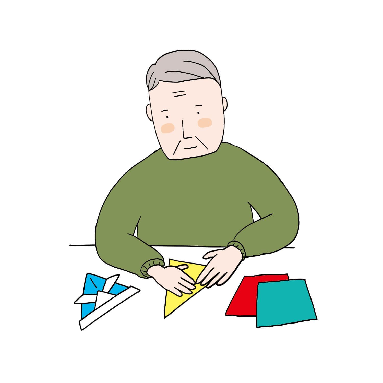 折り紙トレーニングをする老人患者