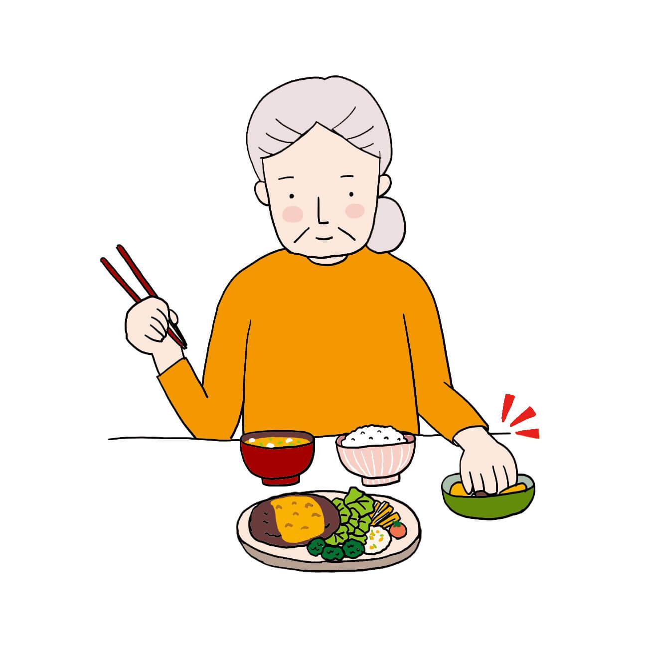 食器の中に手を入れてしまう老人患者イラスト