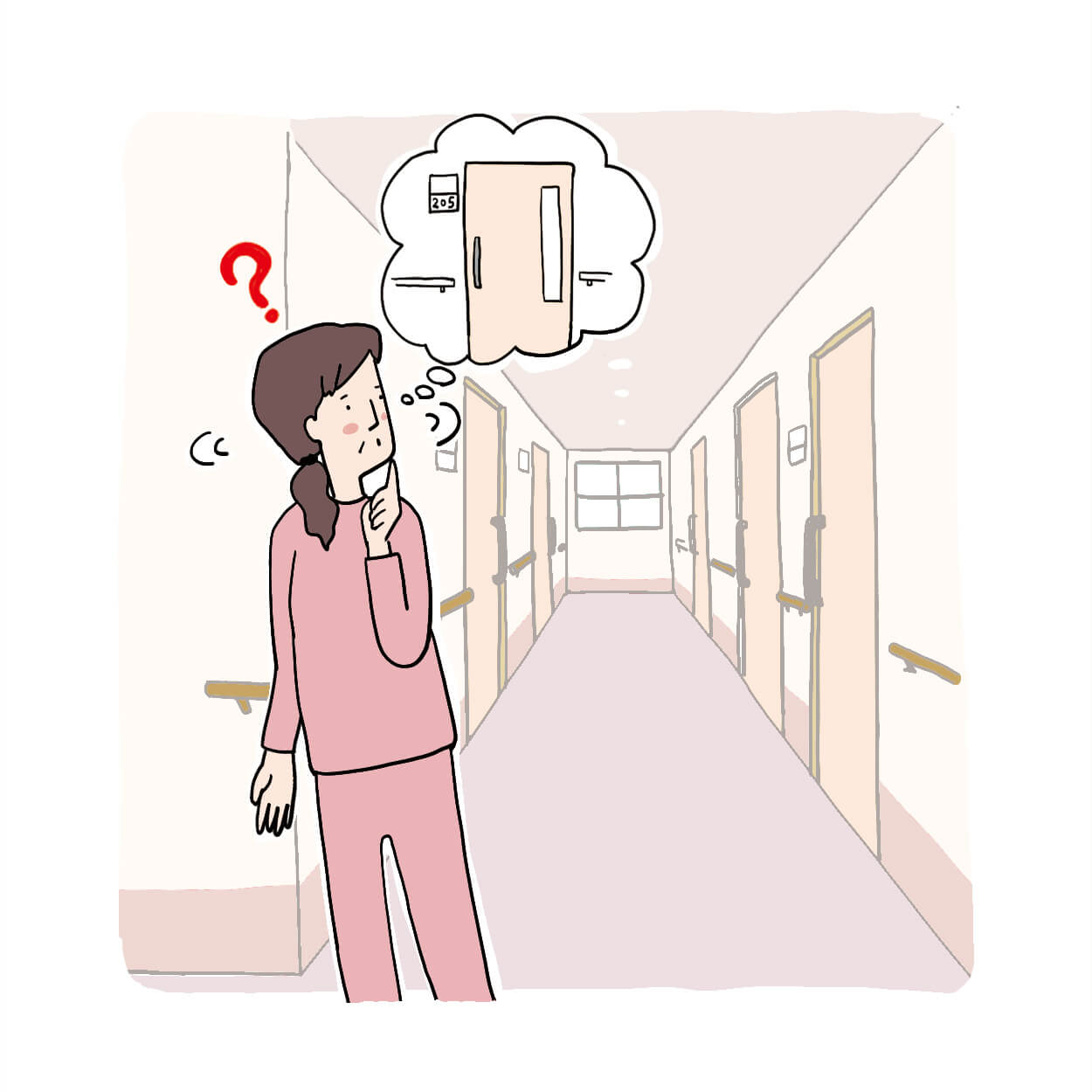 認知障害患者が廊下で迷うイラスト