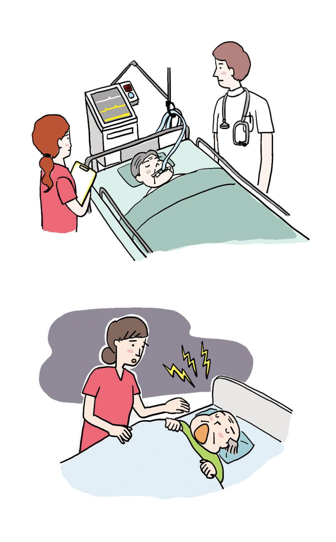 肺炎ICU治療/脳梗塞・意識障害イラスト