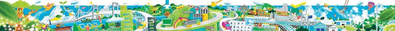 大和工業 巨大ウォールアート/サーキュラーエコノミー 工場壁面イラスト